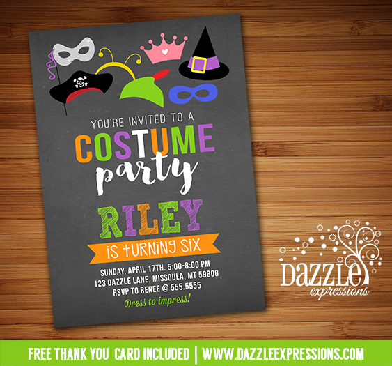 Costume Party Chalkboard Invitation 1 - FREE thank you card