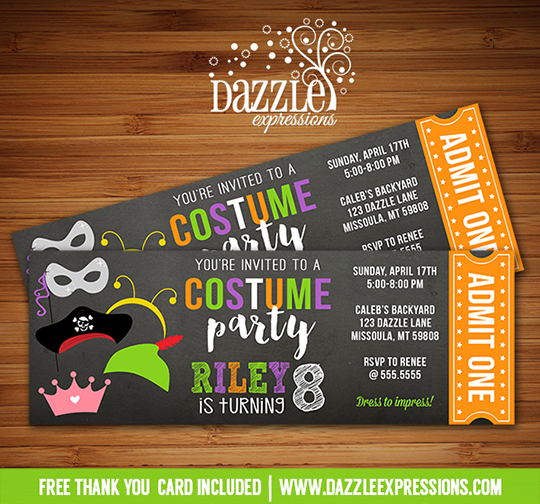 Printable costume party ticket birthday invitation kids halloween costume party ticket invitation 1 free thank you card stopboris Images