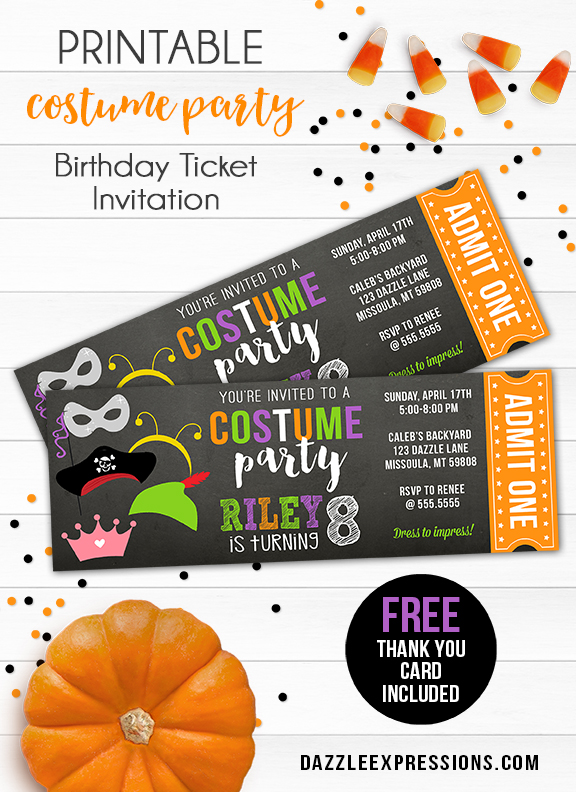 Costume Party Ticket Invitation 1 - FREE thank you card