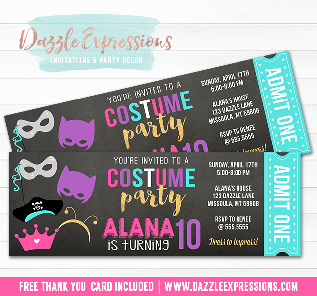 Costume Party Ticket Invitation 2 - FREE thank you card