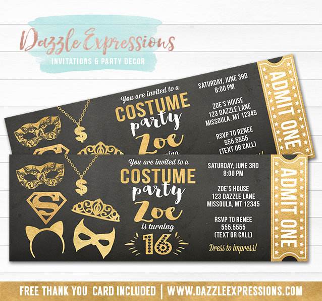 Printable Black and Gold Costume Party Chalkboard Ticket Birthday ...