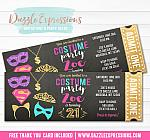Costume Party Ticket Invitation 4 - FREE thank you card