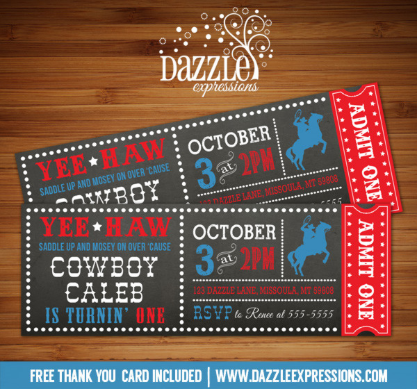Cowboy Chalkboard Ticket Birthday Invitation - FREE thank you card included