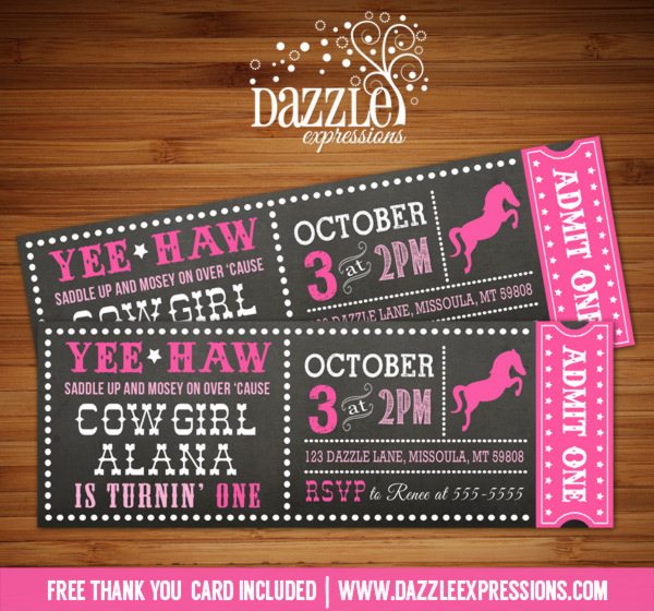 Cowgirl Chalkboard Ticket Birthday Invitation - FREE thank you card included