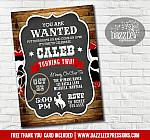 Cowboy Rustic Chalkboard Invitation 1 - FREE thank you card included
