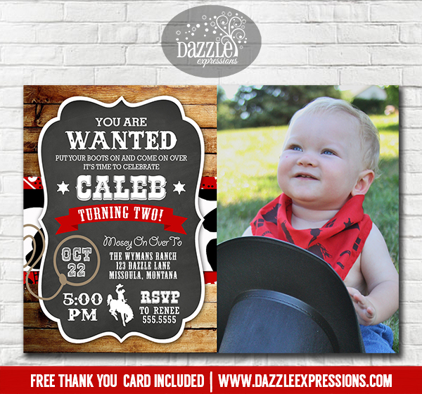 Cowboy Rustic Chalkboard Invitation 2 - FREE thank you card included
