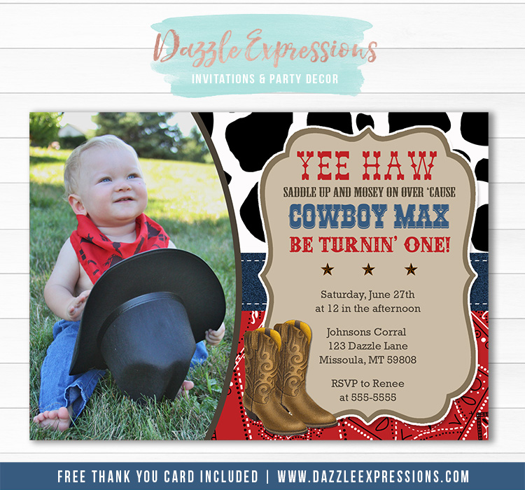 Cowboy Birthday Invitation - Thank You Card Included