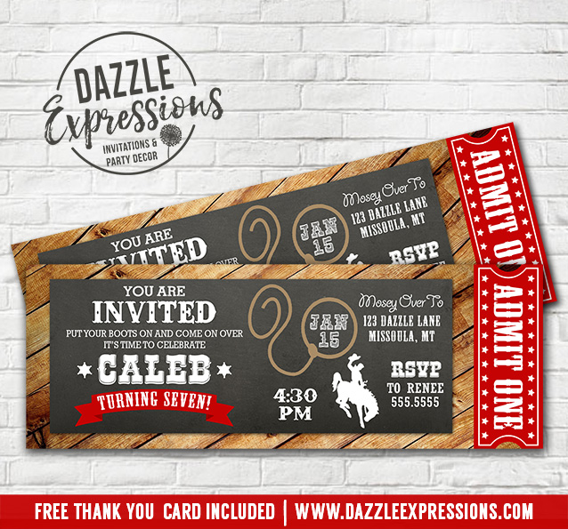 printable rustic and chalkboard cowboy ticket birthday invitation