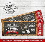 Cowboy Rustic Chalkboard Ticket Invitation - FREE thank you card