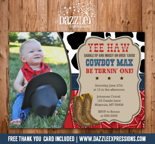 Printable Western Cowboy Birthday Photo Invitation Free Thank You
