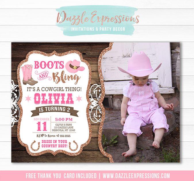 Cowgirl Bling Invitation 2 - FREE thank you card