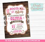 Cowgirl Bling Invitation 1 - FREE thank you card