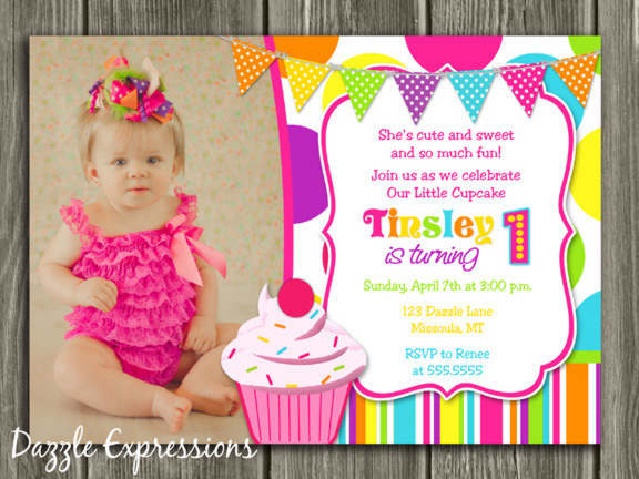 Cupcake Birthday Invitation 6 - FREE thank you card