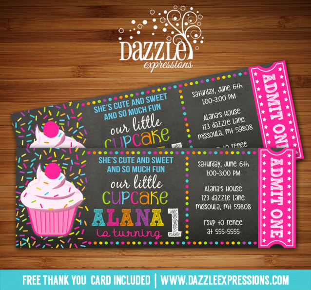 Cupcake Chalkboard Ticket Invitation - FREE thank you card included