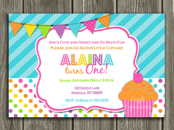 Colorful cupcake first birthday invitation 1st birthday cupcake birthday invitation 2 free thank you card filmwisefo