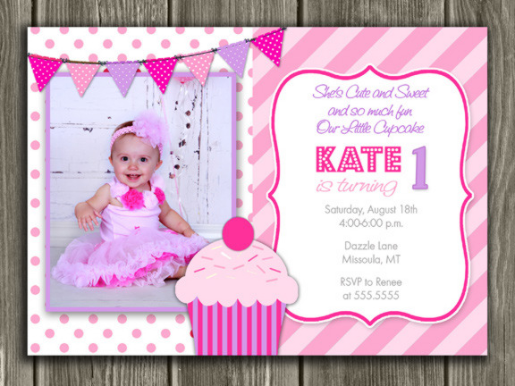 pink and purple cupcake first birthday photo invitation thank you