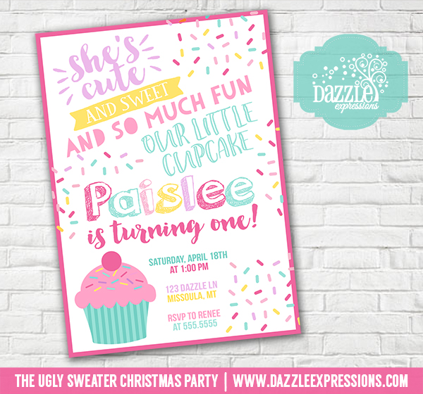 Printable watercolor cupcake and sprinkles birthday invitation cupcake birthday invitation 1 free thank you card filmwisefo