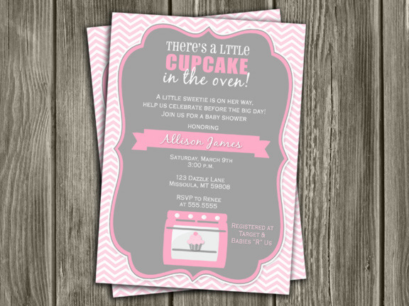 Cupcake In The Oven Baby Shower Invitation   Girl   Thank You Card Included