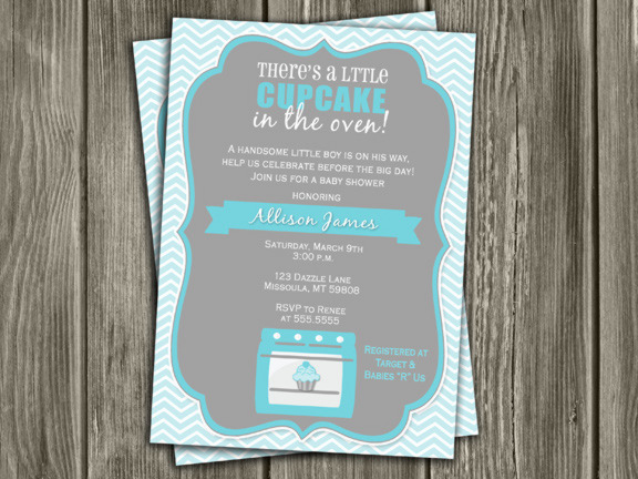 Cupcake in the Oven Baby Shower Invitation - Boy - Thank You Card Included