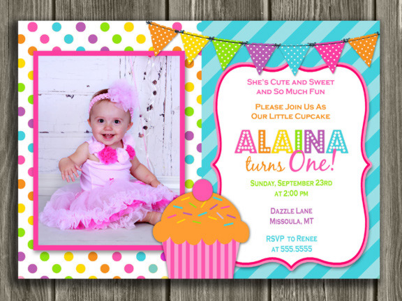 Colorful cupcake first birthday photo invitation 1st birthday cupcake birthday invitation 5 free thank you card bookmarktalkfo Image collections
