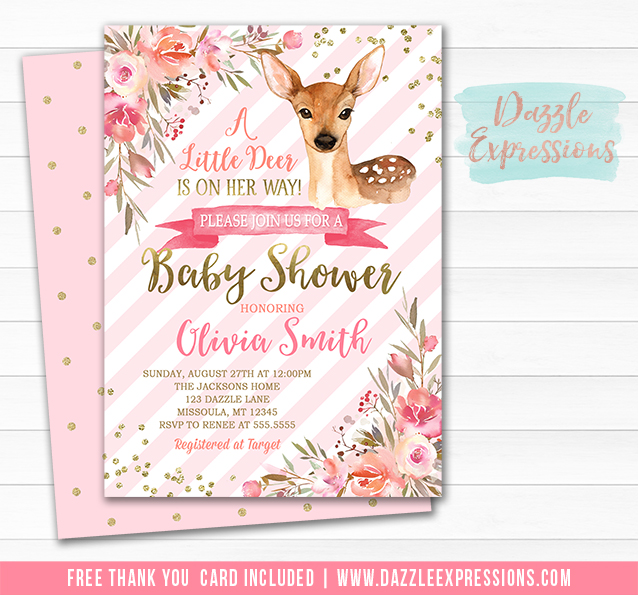 Printable diy baby shower invitations by dazzle expressions deer floral baby shower invitation free thank you card included filmwisefo