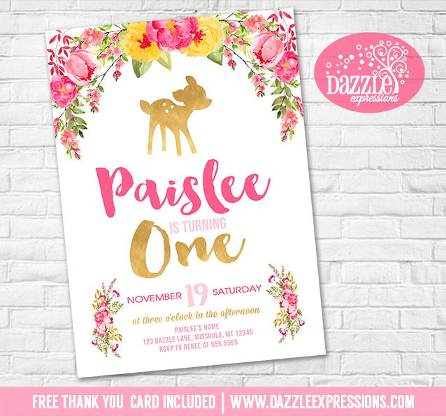 Printable watercolor floral and gold deer birthday invitation floral and gold deer invitation 1 free thank you card filmwisefo