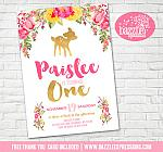 Floral and Gold Deer Invitation 1 - FREE thank you card