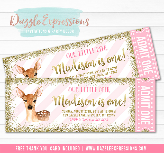 Deer Pink and Gold Ticket Invitation - FREE thank you card included
