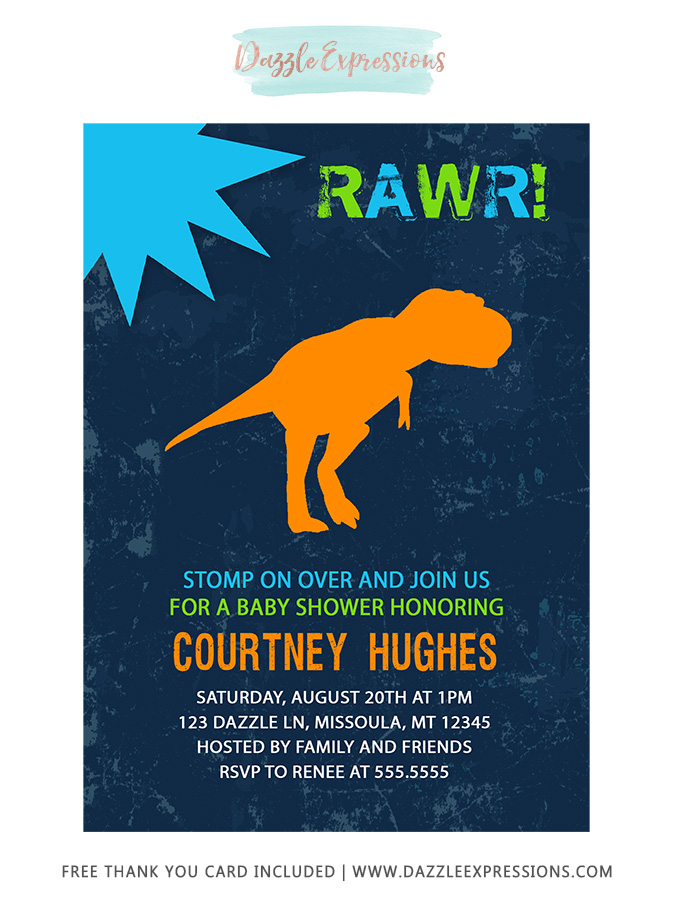 image about Free Printable Dinosaur Baby Shower Invitations identified as Printable Dinosaur Youngster Shower Invitation - T REX - Tyrannosaurus - Boy or girl Boy - Mommy in direction of Be