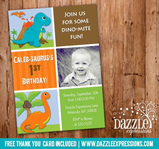 Dinosaur Birthday Invitation 5 - Thank You Card Included