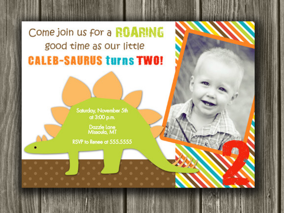 Dinosaur Birthday Invitation 3 - Thank You Card Included