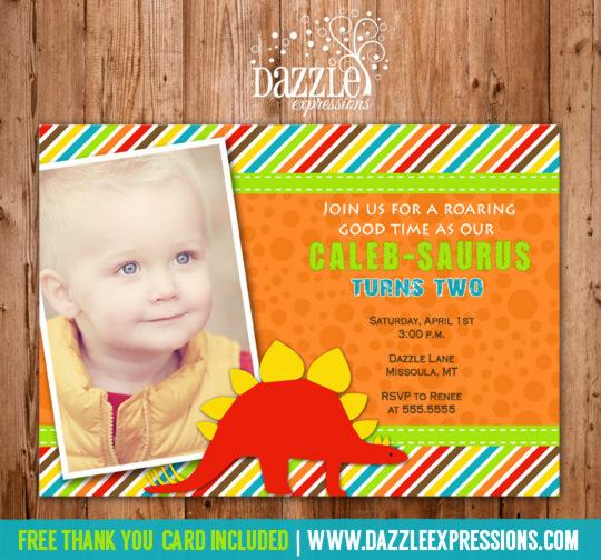 Dinosaur Birthday Invitation 2 - Thank You Card Included