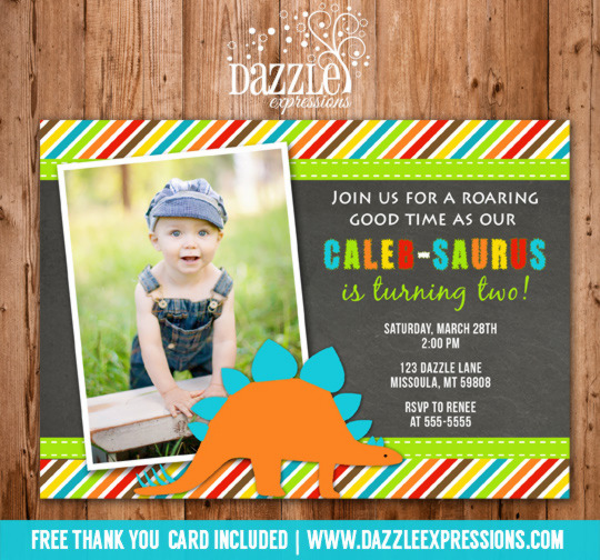 Dinosaur Birthday Invitation 6 - Chalkboard - FREE Thank You Card Included