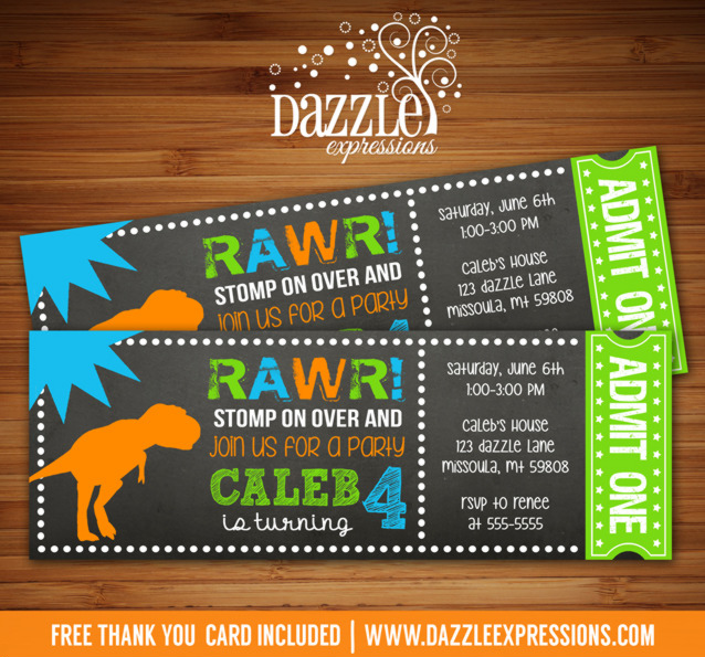Dinosaur Chalkboard Ticket Invitation 1 - FREE Thank You Card Included