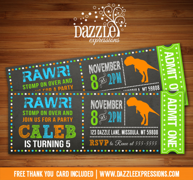 Dinosaur Chalkboard Ticket Invitation 2 - FREE Thank You Card Include
