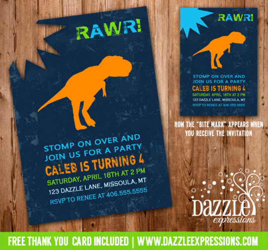 Dinosaur Birthday Invitation 1 - Thank You Card Included