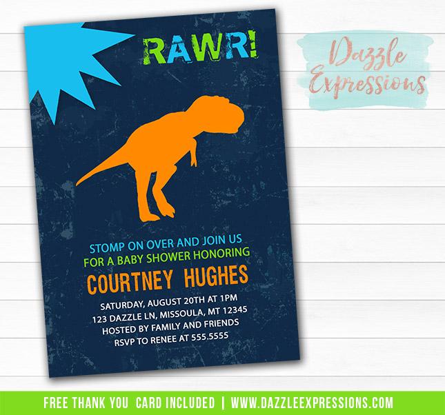 Dinosaur Baby Shower Invitation - FREE thank you card