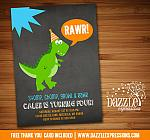 Dinosaur Birthday Invitation 8 - Chalkboard - FREE thank you card included