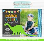 Dinosaur Birthday Invitation 10 - FREE thank you card included