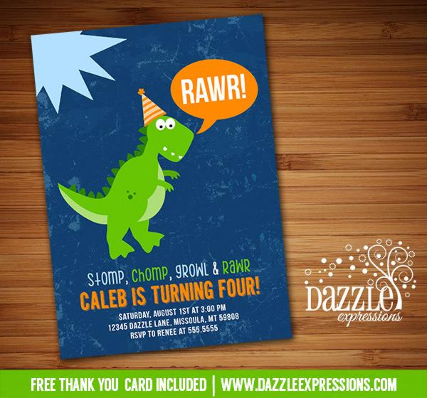 Dinosaur Birthday Invitation 7 - FREE thank you card included