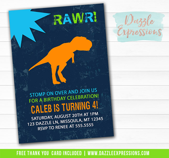 printable dinosaur birthday invitation