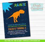 Dinosaur Birthday Invitation 1 - Thank You Card Included