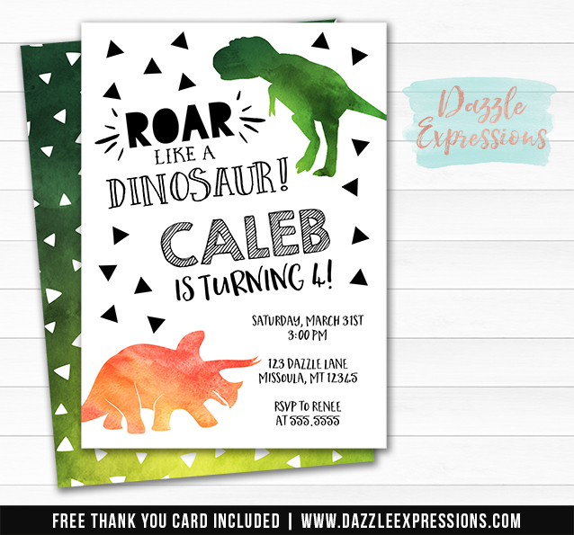 Dinosaur Watercolor Invitation 1 - FREE thank you card included