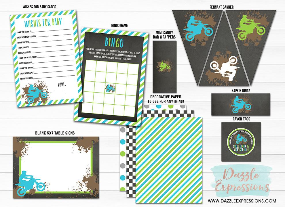 Dirt Bike Chalkboard Baby Shower Package - Printable