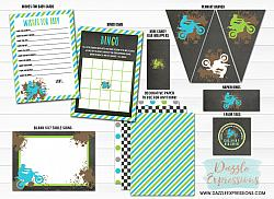 Dirt Bike Chalkboard Baby Shower Package - Printable