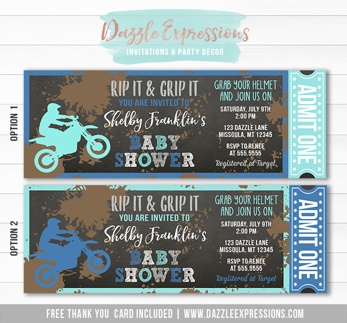 Printable Chalkboard Dirt Bike Ticket Baby Shower ...