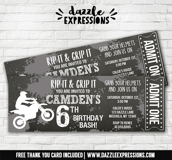 Dirt Bike Chalkboard Ticket Invitation 3