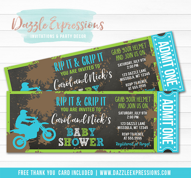 Dirt Bike Chalkboard Baby Shower Ticket Invitation 3