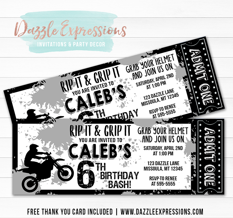 Dirt Bike Ticket Invitation - Black and White - FREE thank you card included