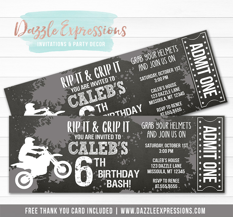 Dirt Bike Chalkboard Ticket Invitation 3 - FREE thank you card included